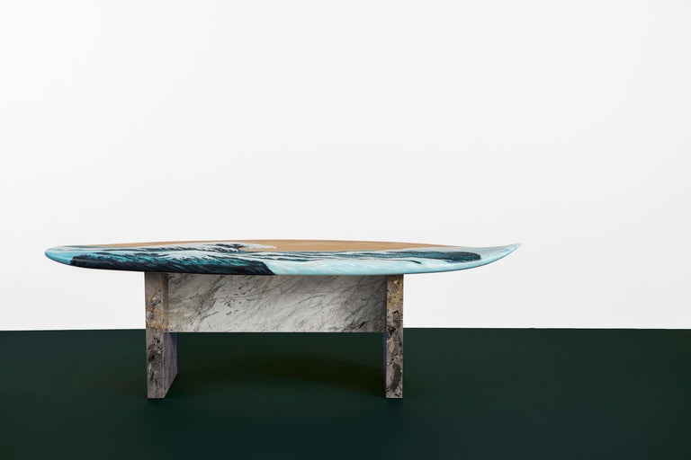 Contemporary Hand Painted Wooden Motus Surf Bench with Marble Legs For Sale