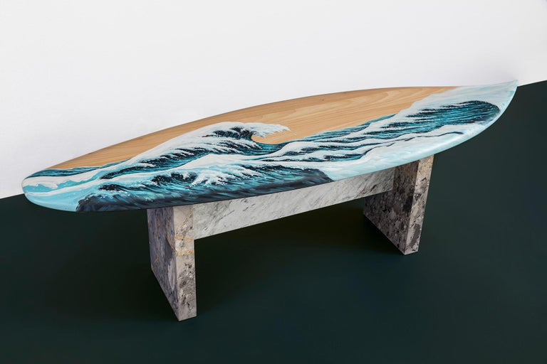 Hand Painted Wooden Motus Surf Bench with Marble Legs For Sale 1