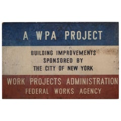 Hand Painted Wooden W.P.A. Sign for City of New York, circa 1930
