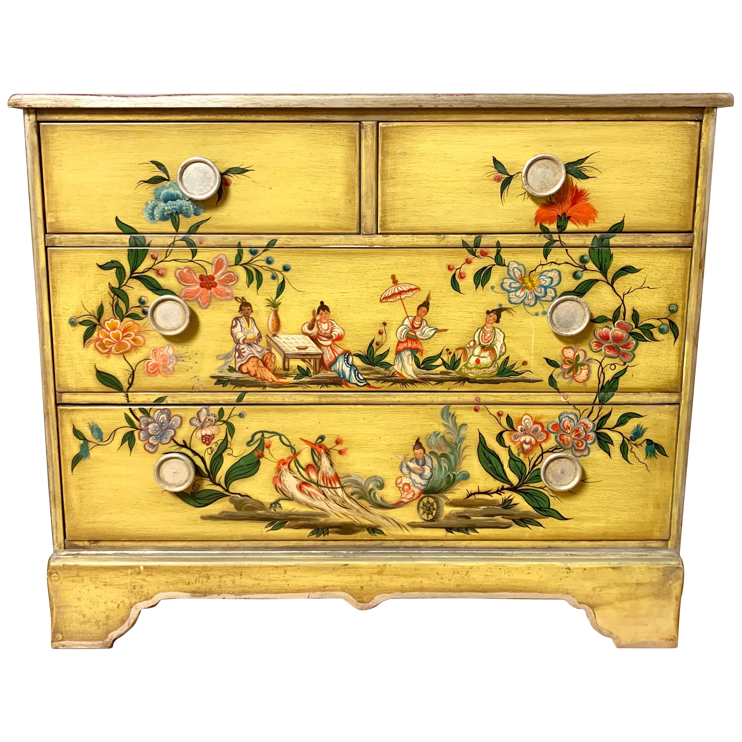 Hand Painted Yellow Chinoiserie Chest of Drawers Dresser