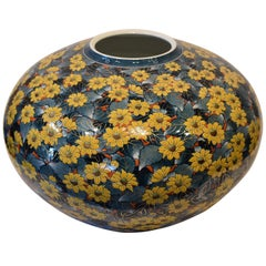 Hand Painted Yellow Porcelain Vase by Japanese Contemporary Master Artist