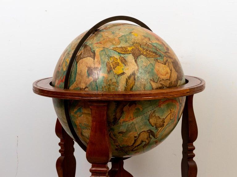 Hand Painted Zodiac Floor Globe For Sale 10
