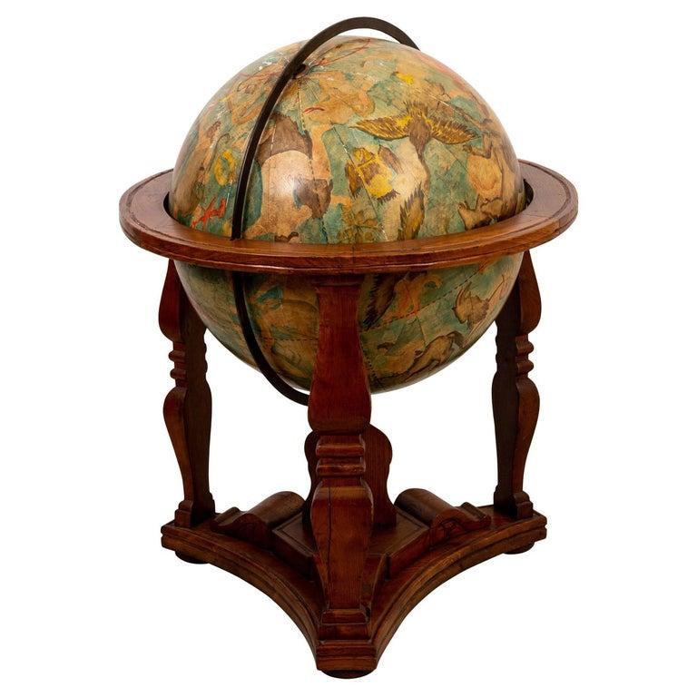 Hand Painted Zodiac Floor Globe For Sale