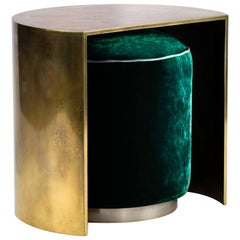 Hand-Patinated Brass Demilune Cocktail Side Table with Hideaway Velvet Pouf