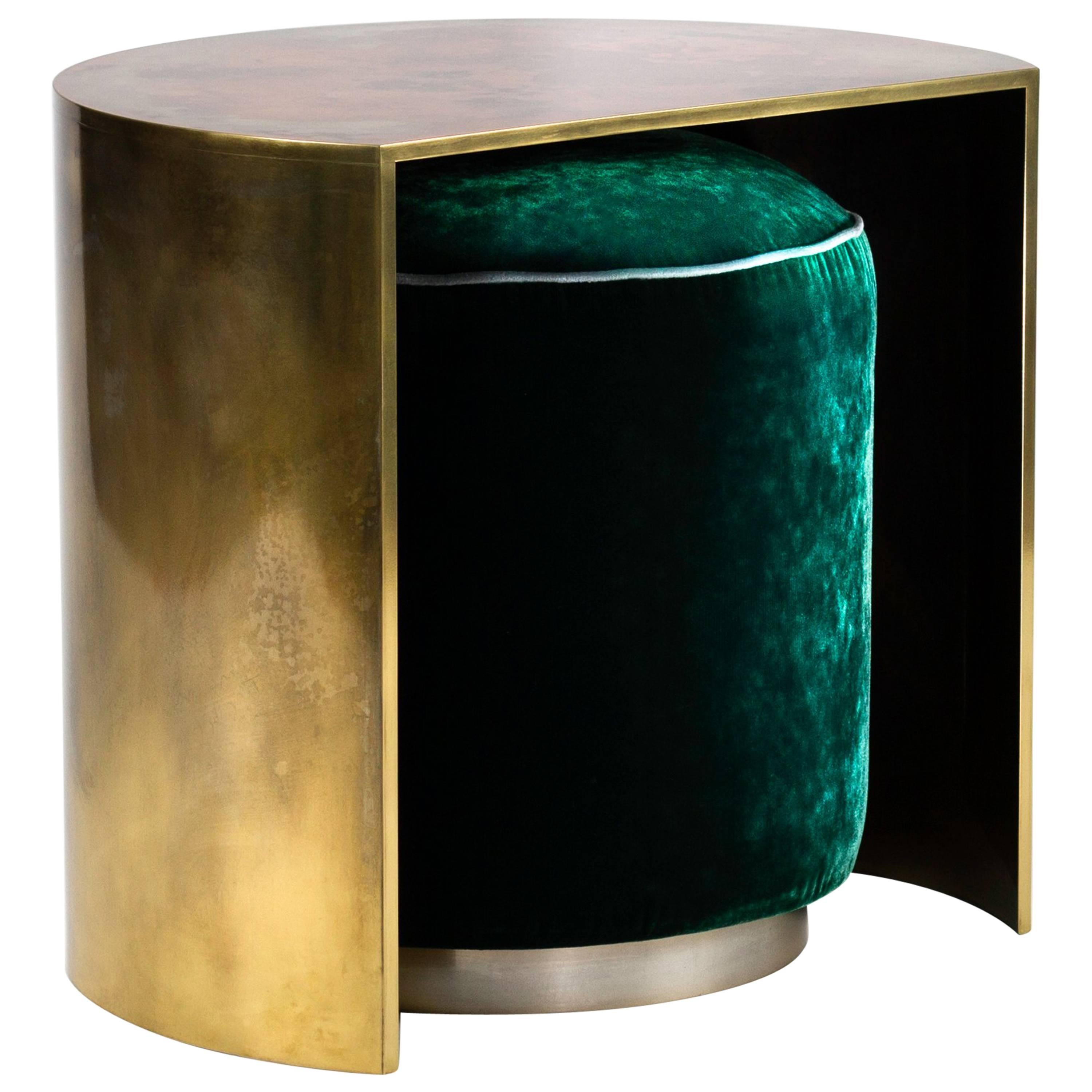 Delicieux Hand Patinated Brass Demilune Cocktail Side Table With Hideaway Velvet Pouf