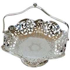 Hand Pierced and Engraved Sheffield Silver Plated Cake or Fruit Basket