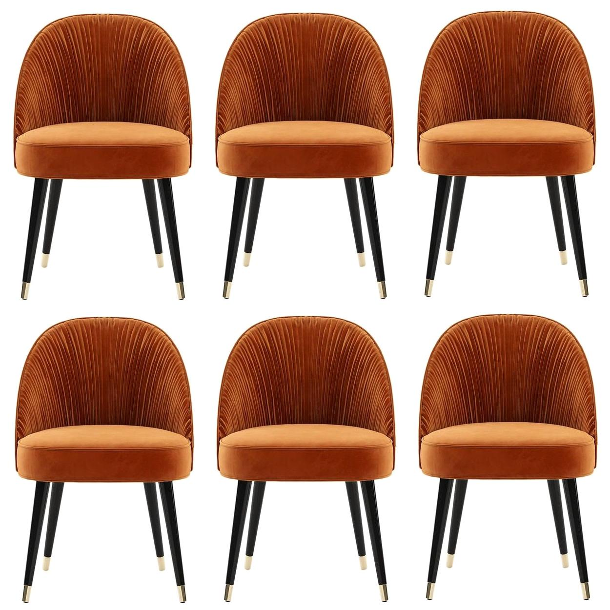Hand Pleated Velvet Dining Chairs, Set of 6