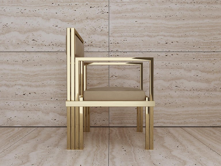 Minimalist Hand Polished Brass and Nubuck Leather Armchair For Sale