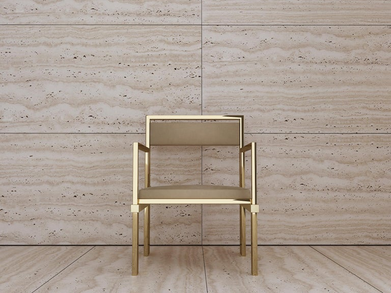 Georgian Hand Polished Brass and Nubuck Leather Armchair For Sale