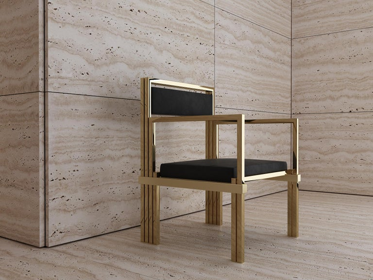Contemporary Hand Polished Brass and Nubuck Leather Armchair For Sale