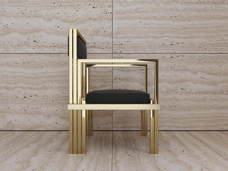 Hand Polished Brass and Nubuck Leather Armchair For Sale 1