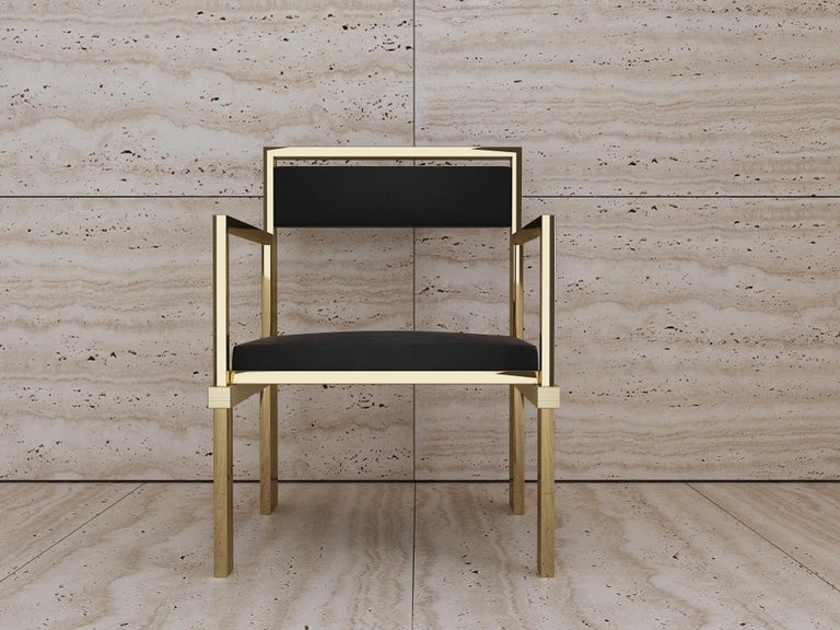 Hand Polished Brass and Nubuck Leather Armchair For Sale 2