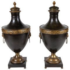 Hand-Pounded, Tuscan Metal Urns