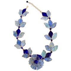 Hand Poured Glass Blue Floral Necklace
