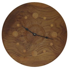 Hand Produced Oak Wall Clock Style Of George Nelson