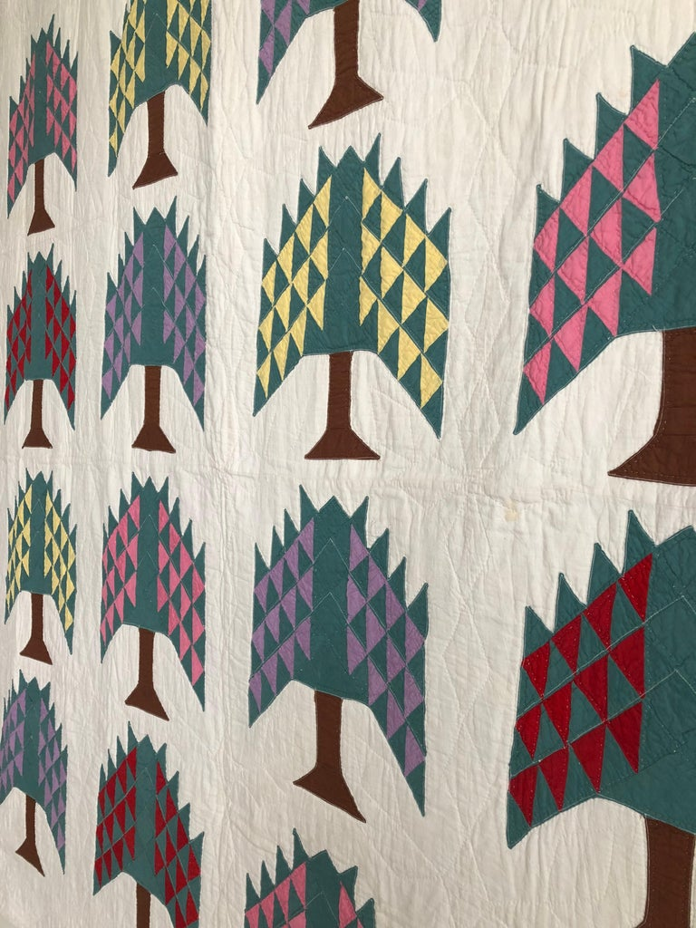 Hand Quilted Antique Pine Tree Quilt In Good Condition For Sale In Copenhagen K, DK