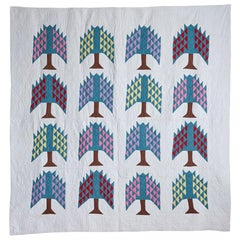 Hand Quilted Antique Pine Tree Quilt
