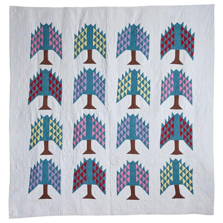 Hand Quilted Antique Pine Tree Quilt For Sale