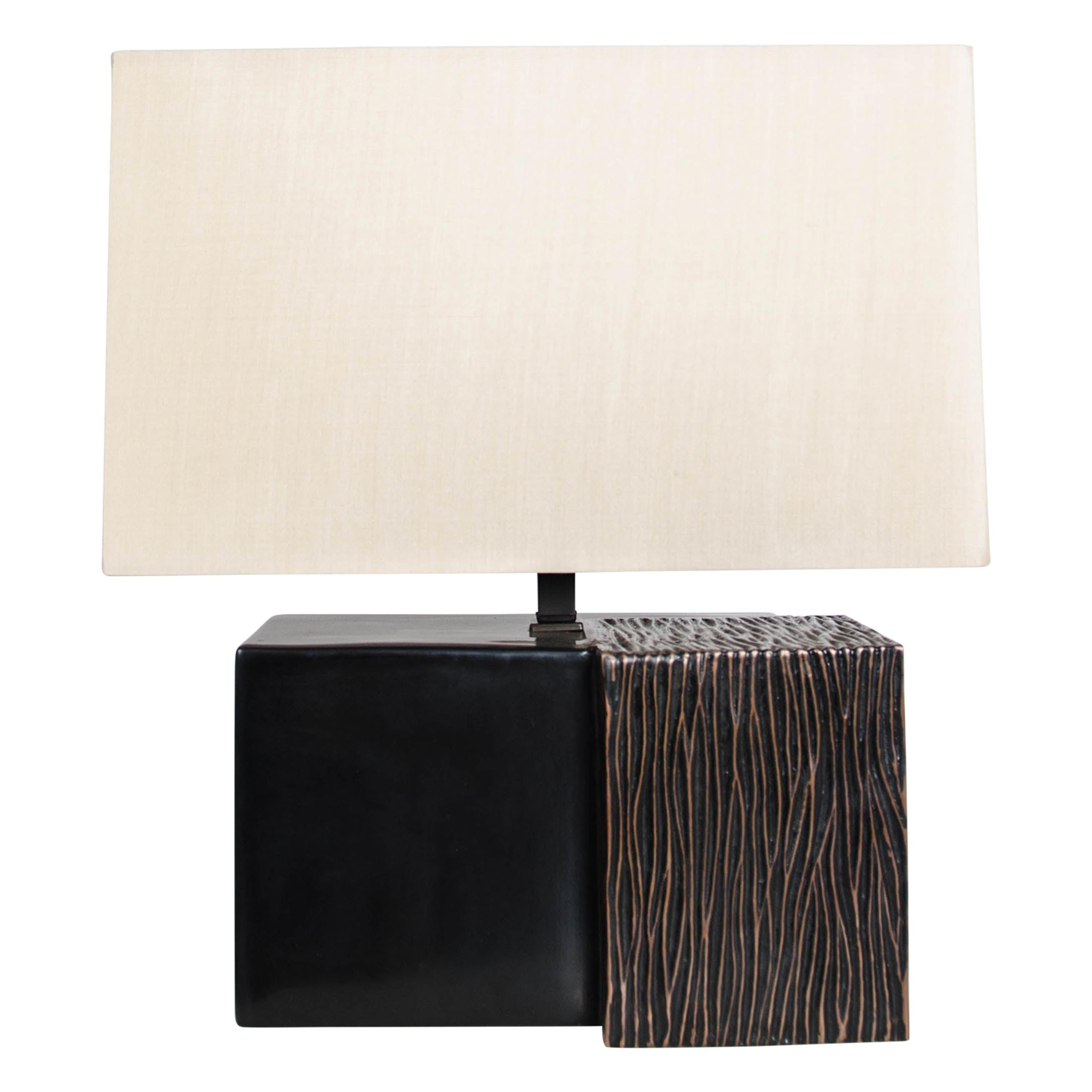 Hand Repoussé Pleats Double Cube Table Lamp in Black Lacquer by Robert Kuo