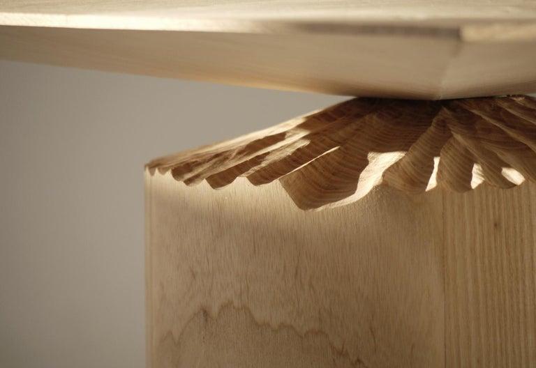 Organic Modern Hand-Sculpted Ash Table by Sanna Völker For Sale