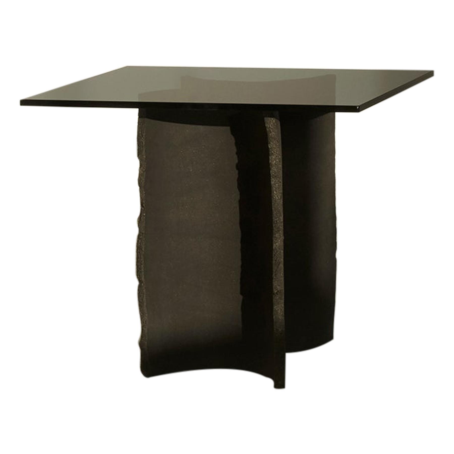 Hand-Sculpted Black Clay Table by Sanna Völker