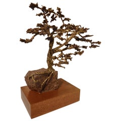 Hand-Sculpted Bronze Bonsai Tree by American Artist Jack S. Chase, circa 1979