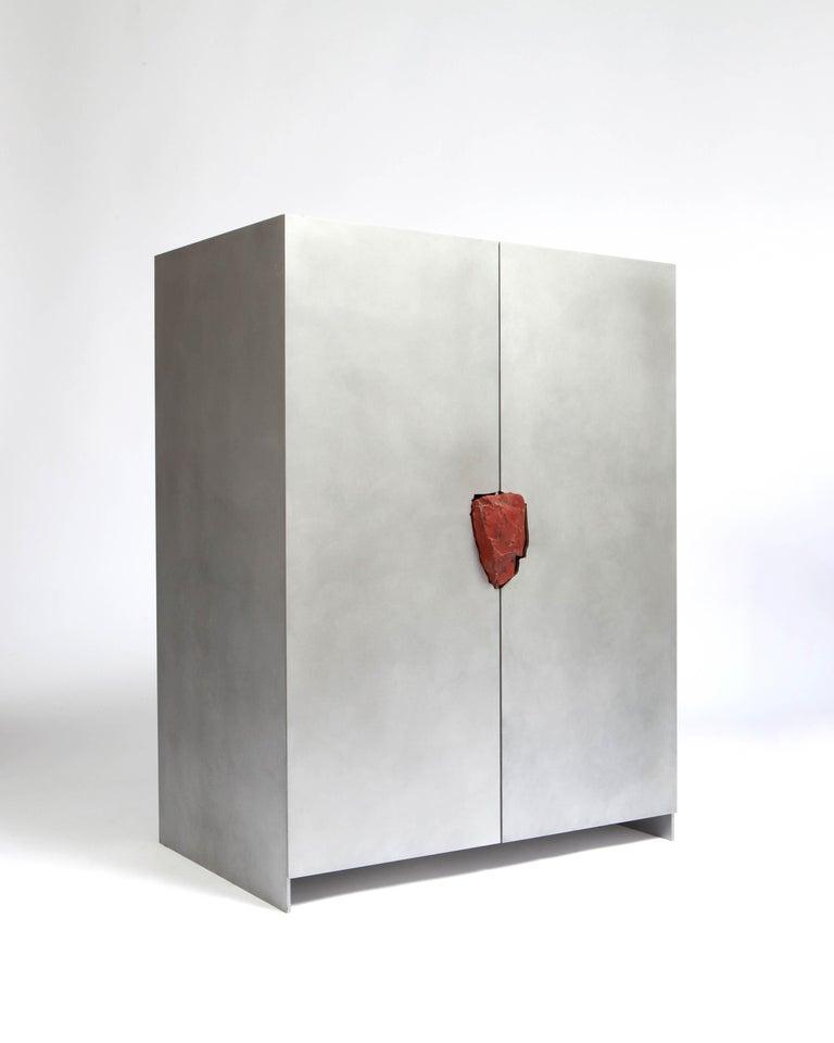 Modern Hand-Sculpted Cabinet with Original Jasper Stone, Pierre De Valck For Sale