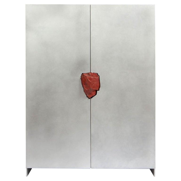 Hand-Sculpted Cabinet with Original Jasper Stone, Pierre De Valck For Sale