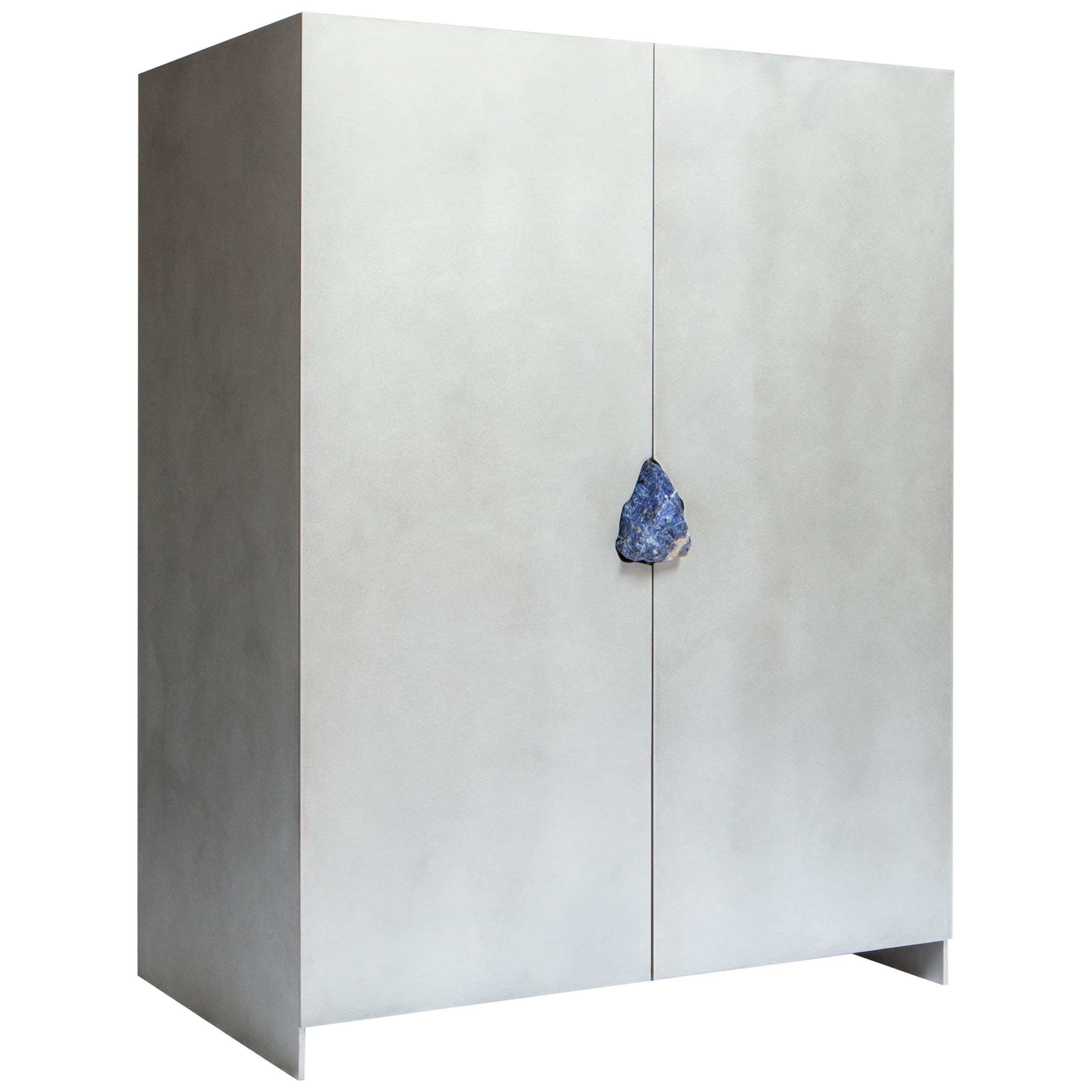Hand-Sculpted Cabinet with Original Lapis Lazuli, Pierre De Valck