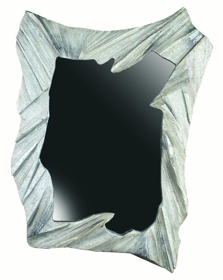 Hand Sculpted, Cast Aluminum Mirror- Mannara Mirror For Sale 1