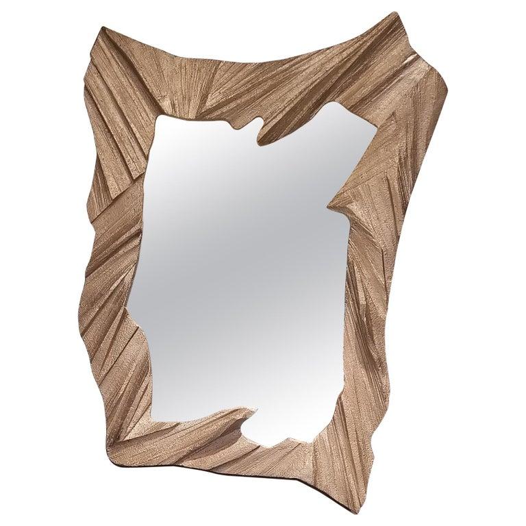 Hand Sculpted, Cast Aluminum Mirror- Mannara Mirror For Sale
