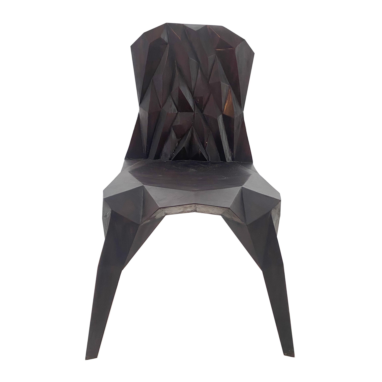 Hand-Sculpted Crystalline Teakwood Chair
