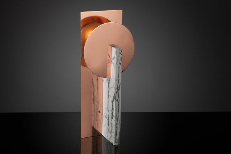 Hand-sculpted marble table lamp - Easy M