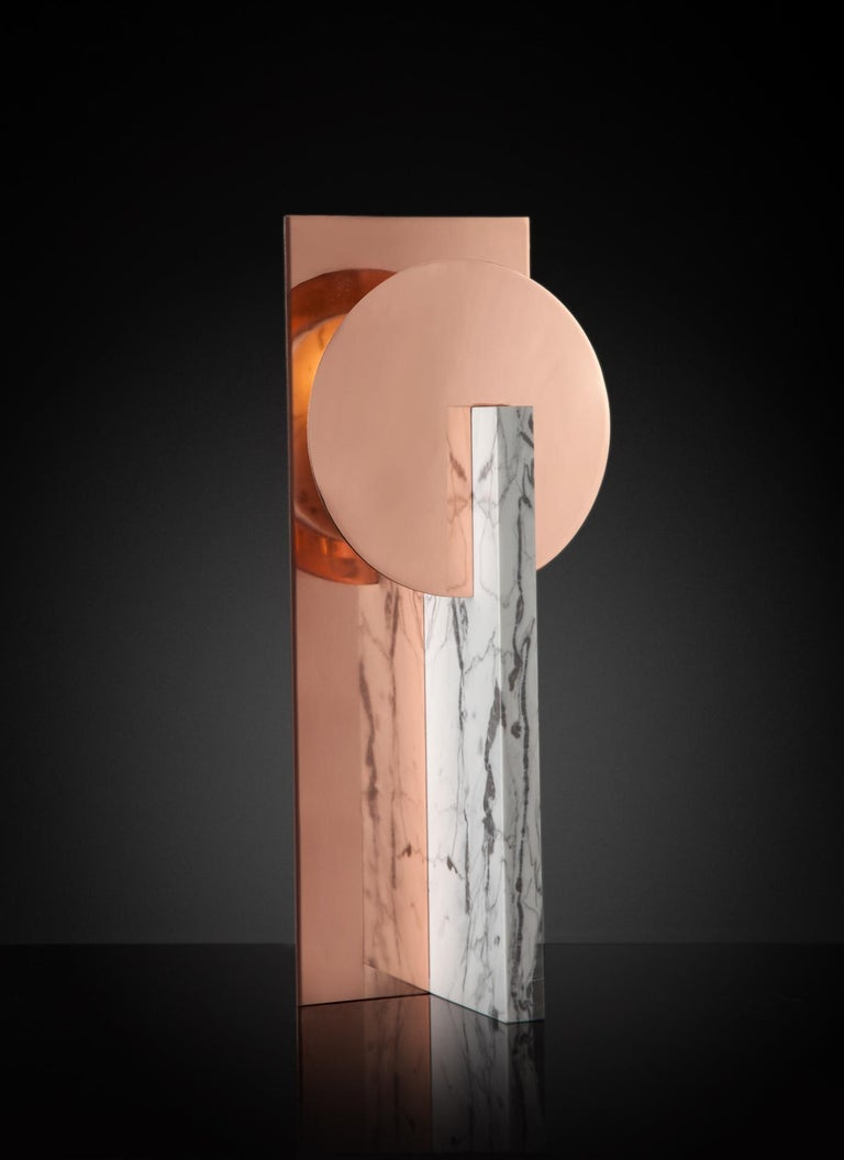 European Hand-Sculpted Marble Table Lamp, Easy M For Sale