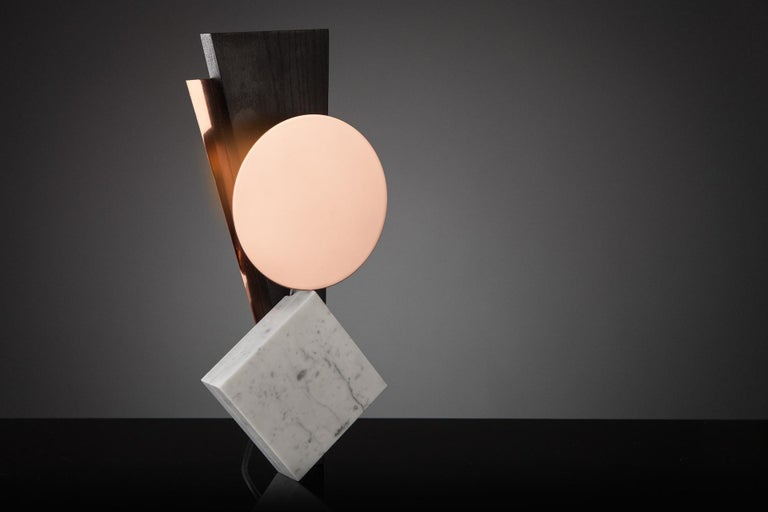 Post-Modern Hand-Sculpted Marble Table Lamp, Poise For Sale