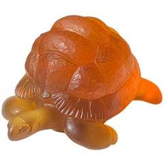 Hand-Sculpted Massive Pate-de-Verre Glass Life-Size Tortoise Sculpture in Amber