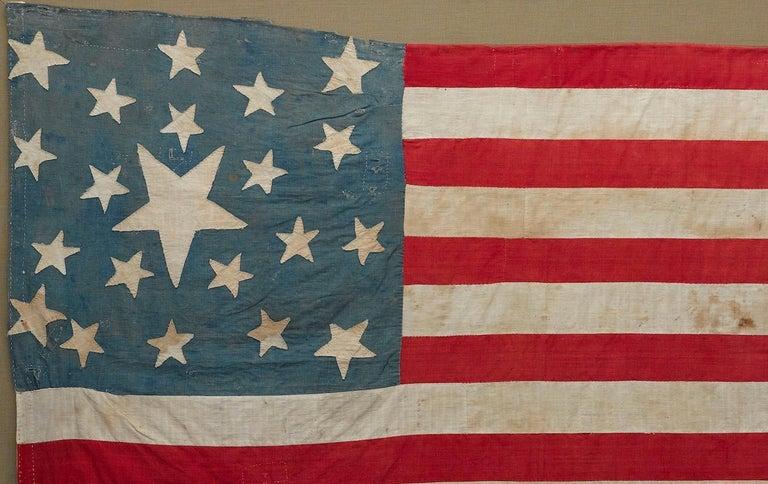 21-Star American Flag, Civil War Era, Hand-Sewn Linen, circa 1860 In Good Condition For Sale In Colorado Springs, CO