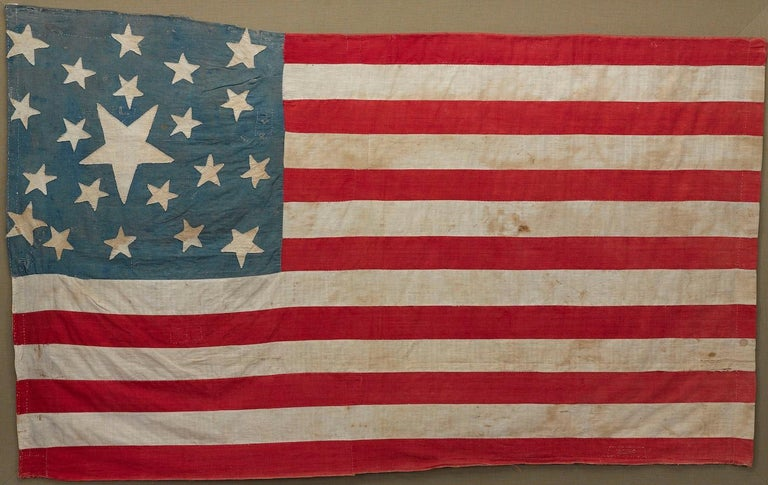 21-Star American Flag, Civil War Era, Hand-Sewn Linen, circa 1860 For Sale 1