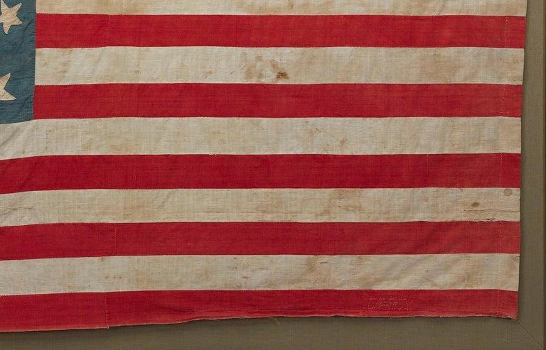Mid-19th Century 21-Star American Flag, Civil War Era, Hand-Sewn Linen, circa 1860 For Sale