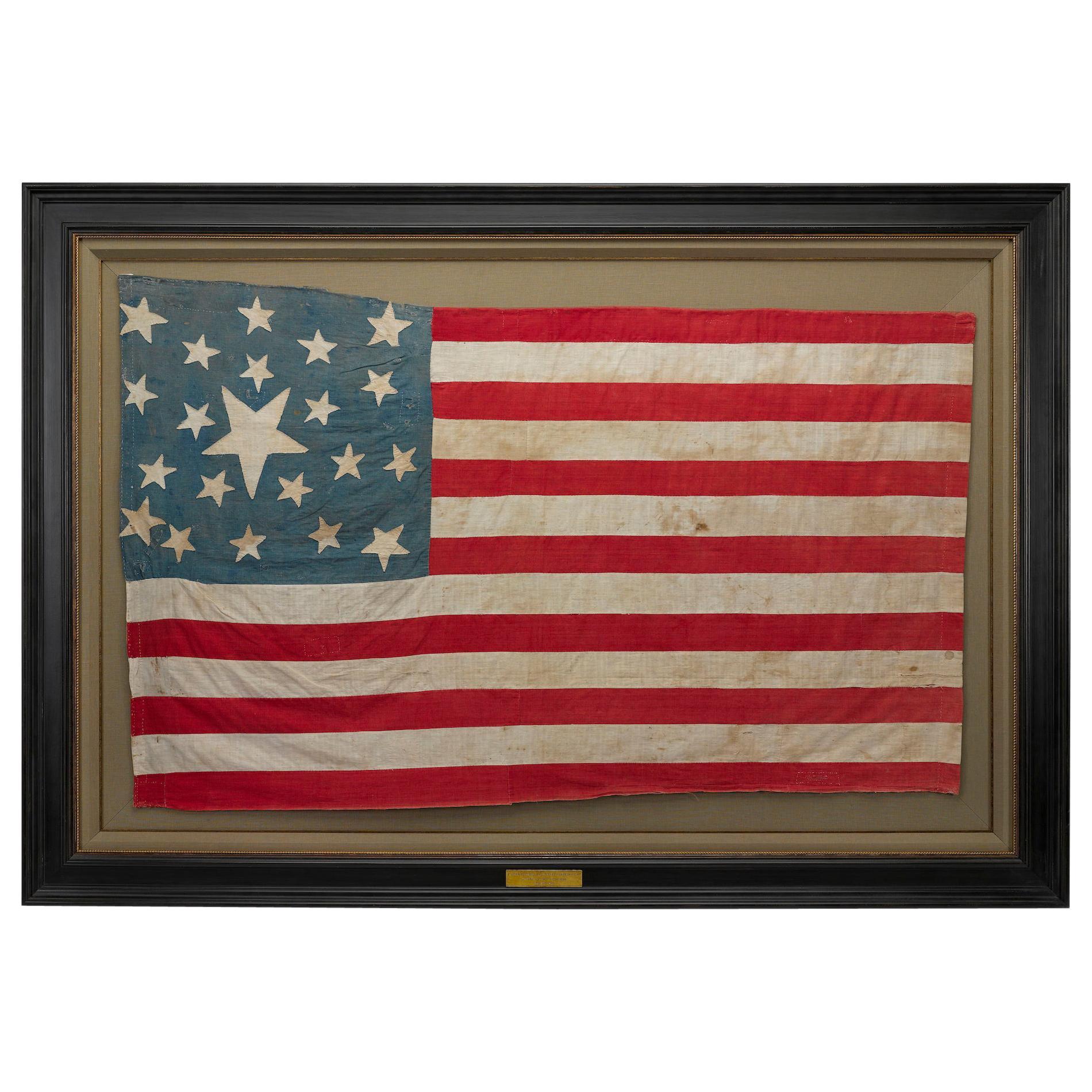 21-Star American Flag, Civil War Era, Hand-Sewn Linen, circa 1860
