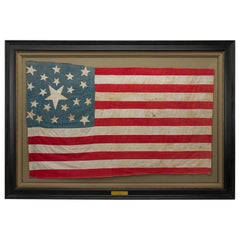 Hand-Sewn 21-Star American National Linen Flag, circa 1860