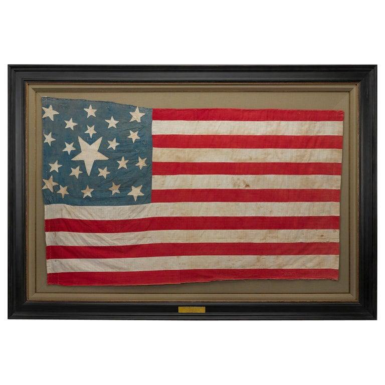 21-Star American Flag, Civil War Era, Hand-Sewn Linen, circa 1860 For Sale