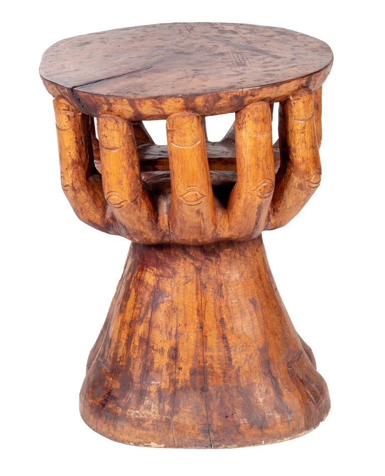 Hand Shaped Fruit Wood Set of Table and Four Chairs In Good Condition In Malaga, ES