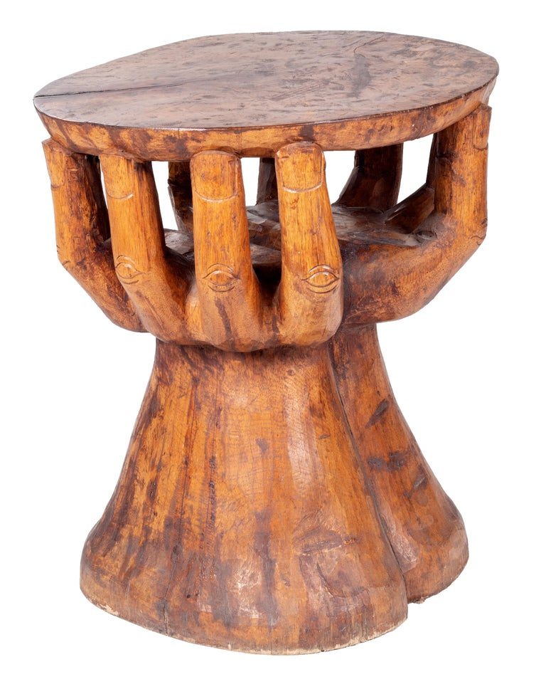 20th Century Hand Shaped Fruit Wood Set of Table and Four Chairs