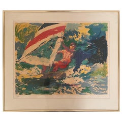 """Hand Signed Limited Edition Serigraph """"Windsurfer"""" by Leroy Neiman"""