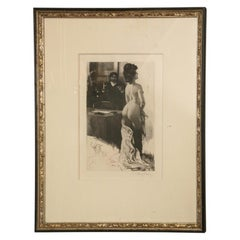 Hand Signed Lobel Riche 19th Century Etching Custom Framed Art