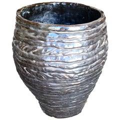 Hand-Spun Layered Clay Art Pottery Vase Signed Davison