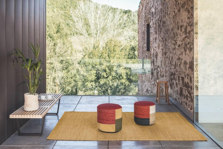 Modern Hand-Spun Nanimarquina Kilim Pouf Three by Nani Marquina & Marcos Catalan For Sale