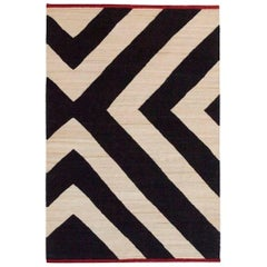 Hand-Spun Nanimarquina Melange Zoom Rug in Black and White Stripes by Sybilla
