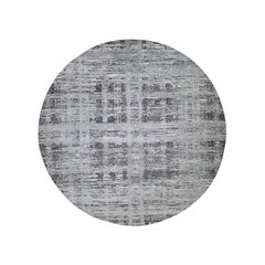 Hand Spun Undyed Natural Wool Gray Modern Round Hand Knotted Rug